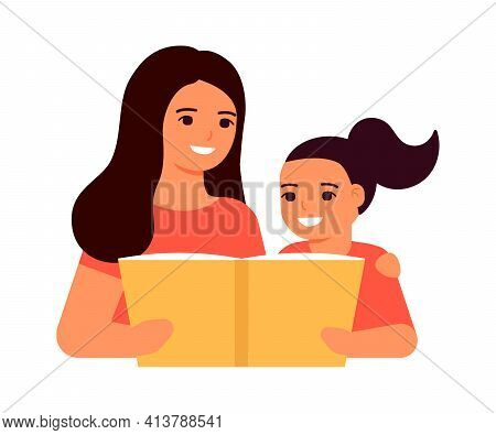 Child Girl And Mother Read Book, Learn Lesson. An Open Book For Reading, Learning, Education And Ent