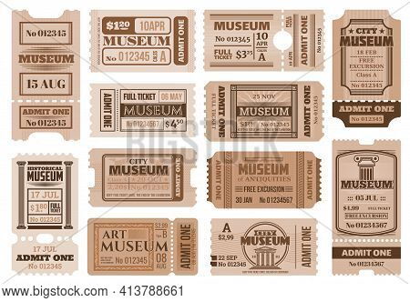 Retro Tickets In Historical Museum Exposition. Excursion Access Pass, Museum Entrance Vintage Admiss