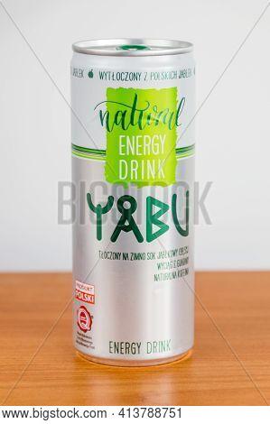 Pruszcz Gdanski, Poland - March 21, 2021: Yabu Natural Energy Drink.