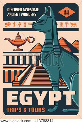Egypt Travel And Landmarks, Cairo City Tours And Sightseeing Trips, Vector Retro Poster. Egyptian To