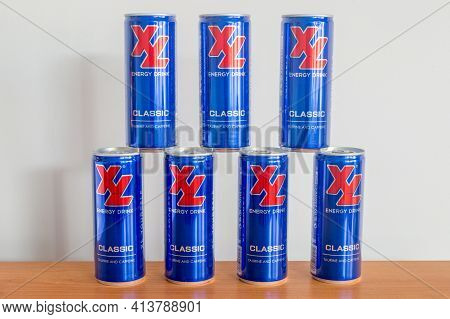 Pruszcz Gdanski, Poland - March 21, 2021: Cans Of Xl Classic Energy Drink.