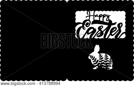 Easter Paper Cut Card With Lettering In Form Of Bunny With Brunch, Egg. Vector Illustration. Ready F
