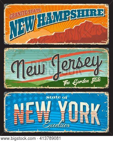 Usa Travel And Tourism Vector Rusty Metal Signboards With New York, New Jersey And New Hampshire Ame