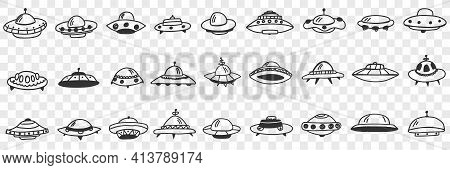 Ufo And Flying Plates In Cosmos Doodle Set. Collection Of Hand Drawn Various Shapes And Forms Of Ufo