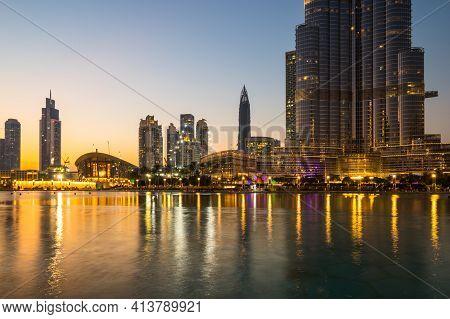 Dubai, United Arab Emirates - 04 December, 2018: View Of Skyscrapers In The Center Of Dubai, United