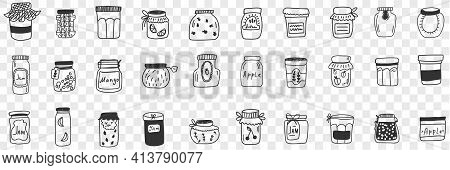 Jars And Containers For Food Doodle Set. Collection Of Hand Drawn Various Shapes And Forms Of Glass
