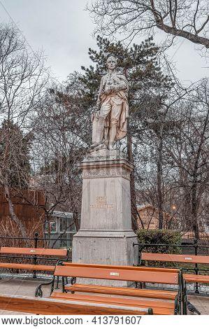 Vienna, Austria - Feb 7, 2020: Statue Of Josef Von Sonnenfels Outside City Hall In Winter Morning