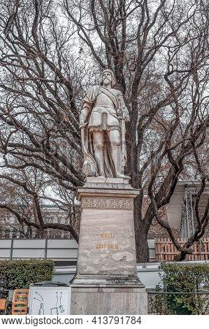 Vienna, Austria - Feb 7, 2020: Statue Of Niklas Craf Salm Outside City Hall In Winter Morning