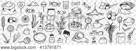 Sugar And Ingredients For Candies Doodle Set. Collection Of Hand Drawn Edible Sweet Sugar Flour Plan