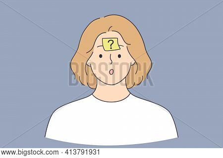 Thinking, Doubt, Question Sign Concept. Frustrated Thinking Woman Cartoon Character Standing With Qu