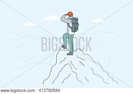Hiking On Mountains, Backpacker, Traveling Concept. Young Traveler Hiker Cartoon Character Standing