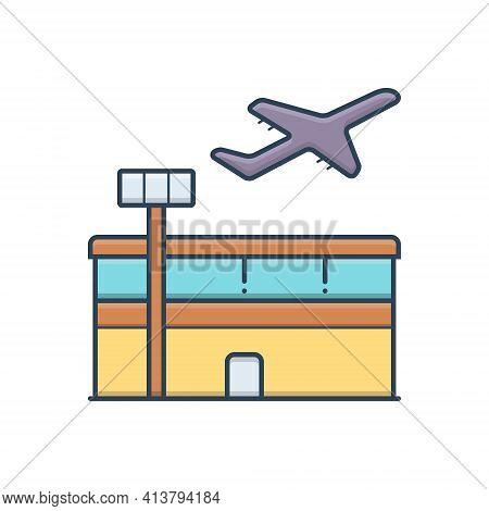 Color Illustration Icon For Airport Aerodrome Terminal Plane Take-off