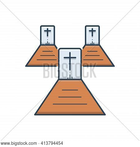 Color Illustration Icon For Graveyard  Cemetery Necropolis Churchyard
