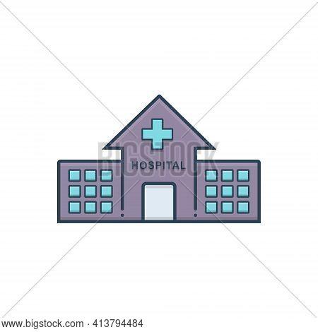 Color Illustration Icon For Hospital Asylum Clinic Dispensary Building