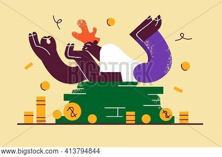Financial Success, Wealth, Money Concept. Happy Rich Guy Cartoon Character Lying On Heap Of Cash And