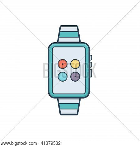 Color Illustration Icon For Watch-synchronization Watch Synchronization Wearable Gadget Wristlet
