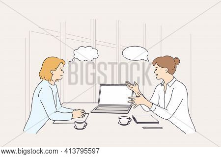 Business Meeting, Discussion, Brainstorm Concept. Two Smiling Businesswomen Colleagues Partners Cart