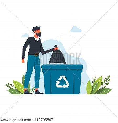 A Man Throws A Garbage Bag Into A Trash Can, Garbage Recycling Sign Volunteering People, Ecology, En
