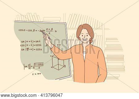 Teaching, Education, Learning Process Concept. Portrait Of Smiling Mature Professor Teaching Mathema