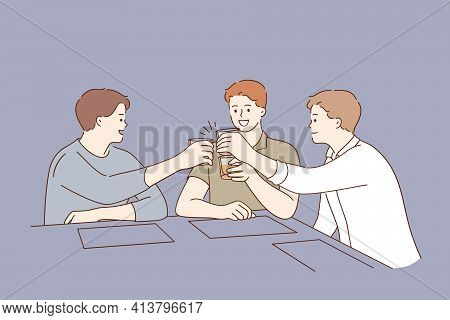 Spending Time And Having Fun In Bar Concept. Cheerful Smiling Men Holding Glasses With Alcohol Scotc
