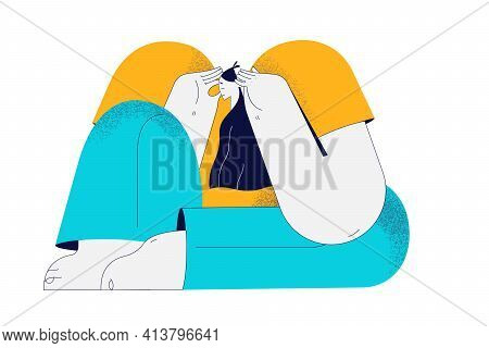 Depression, Headache, Sadness Concept. Young Girl Cartoon Character Sitting Touching Head With Hands