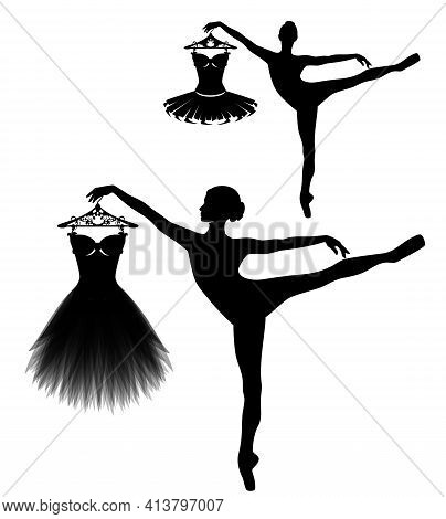 Beautiful Ballerina Girl Holding Coat Hanger With Tutu Dress - Black And White Vector Silhouette Of