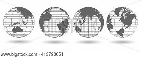 Set Of Globe 3d Geopolitical Extruded Isolated On White Background With Shadow
