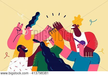 Celebrating International Friendship Day Concept. Group Of Young Positive People Doing High Five Tog