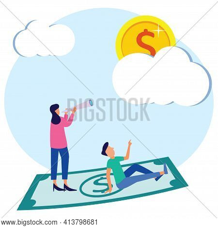 Vector Illustration Of Business People With Vision Of Opportunity And Reach. Seeking Future Plans Fo