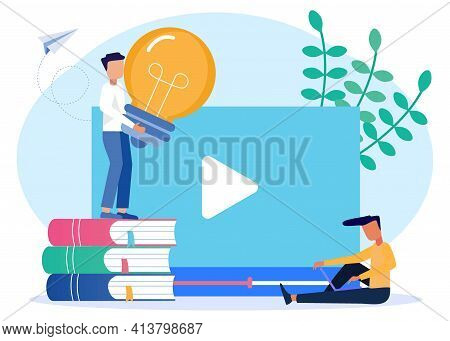 Vector Illustration Of Online Education Concepts, Video Tutorials, Webinars, Online Training And Cou