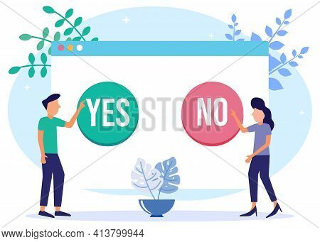 Choose A Vector Illustration. Concept Selection Process By Office Workers. Symbolic Scenes With Yes