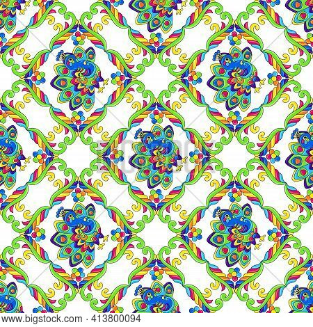 Mexican Talavera Seamless Pattern With Tropical Peacocks. Traditional Decorative Objects.