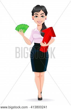 Beautiful Successful Business Woman Cartoon Character Holding Money. Usable As Manager, Secretary, O