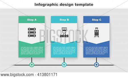 Set Railway, Railroad Track, Train Conductor And Suitcase. Business Infographic Template. Vector