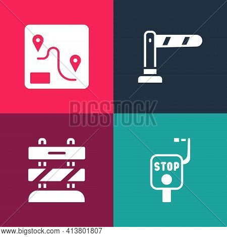 Set Pop Art Emergency Brake, End Of Railway Tracks, Railway Barrier And Route Location Icon. Vector