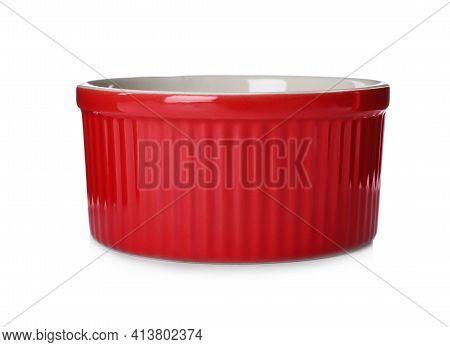 New Red Ramekin Isolated On White. Kitchenware