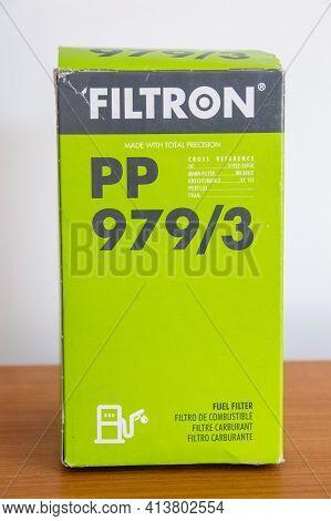 Pruszcz Gdanski, Poland - March 21, 2021: Box Of Filtron Pp 979 3 Car Fuel Filter.