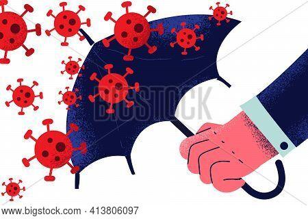 Danger Of Coronavirus, Protection From Virus Bacteria Concept. Hand Of Businessman Holding Umbrella