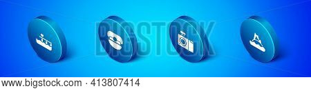 Set Isometric Beach Pier Dock, Photo Camera, Tropical Island In Ocean And Captain Hat Icon. Vector