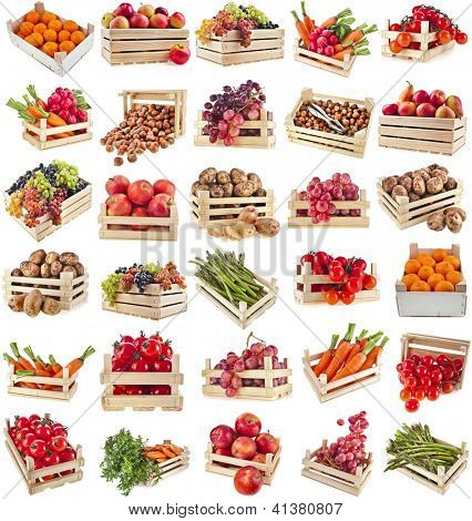 Fresh tasty healthy fruits, vegetables, berries, nuts in wooden box , collection set , isolate on a white background