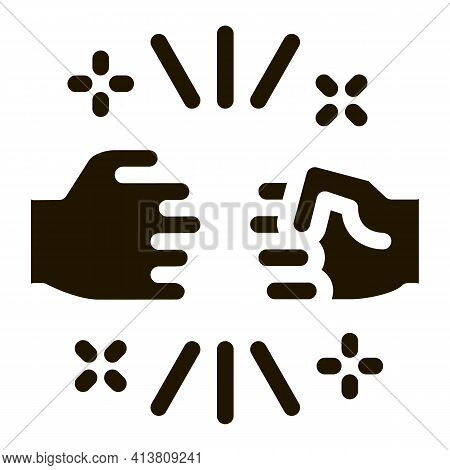 Friend Fist Bump Glyph Icon Vector. Friend Fist Bump Sign. Isolated Symbol Illustration