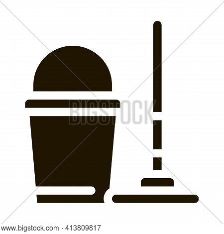 Bucket And Mop Glyph Icon Vector. Bucket And Mop Sign. Isolated Symbol Illustration