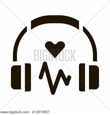 Influence On Heart Of Music Glyph Icon Vector. Influence On Heart Of Music Sign. Isolated Symbol Ill