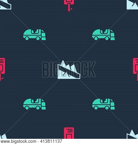 Set Identification Badge, Mountain Descent And Ice Resurfacer On Seamless Pattern. Vector