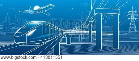 Outline Road Bridge. Car Overpass. Train Rides. Airplane Fly. City Infrastructure And Transport Illu