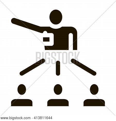 Speaker Leader For People Glyph Icon Vector. Speaker Leader For People Sign. Isolated Symbol Illustr