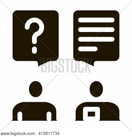 Dialogue Of Tourist And Employee Glyph Icon Vector. Dialogue Of Tourist And Employee Sign. Isolated