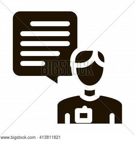 Male Worker Talk Glyph Icon Vector. Male Worker Talk Sign. Isolated Symbol Illustration