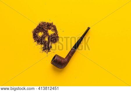 Concept Of No Smoking And World No Tobacco Day, 31 May. Skull Form Tobacco And Pipe. Smoking Kills I
