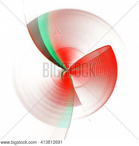 The Red Propeller, With Green And Black Stripes, In The Form Of A Bow Rotates On A White Background.